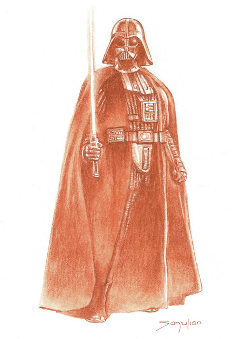 Darth Vader By Sanjulian - Original Sanguine Drawing - Loose page - First edition
