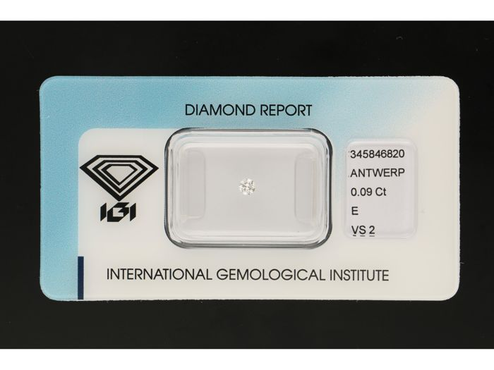 1 pcs Diamant - 0.09 ct - Brillant - E - VS2