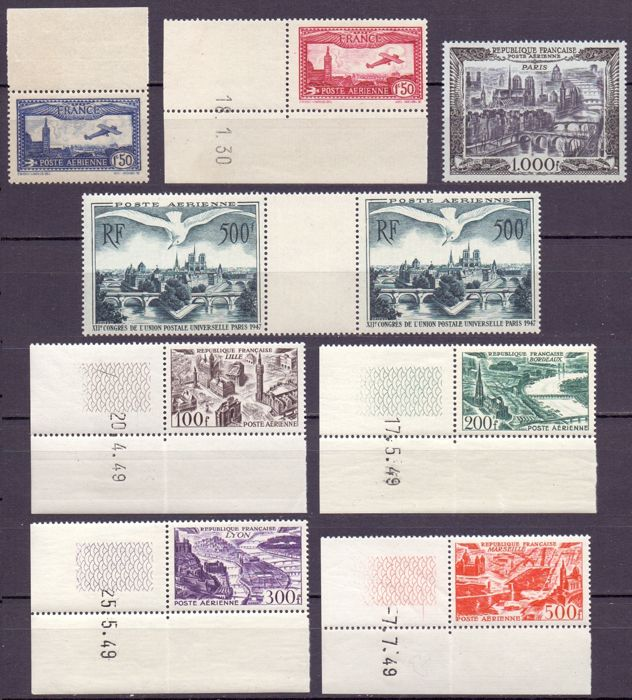 France 1930/1949 - Lot with complete airmail series - Yvert entre PA5 & PA 37