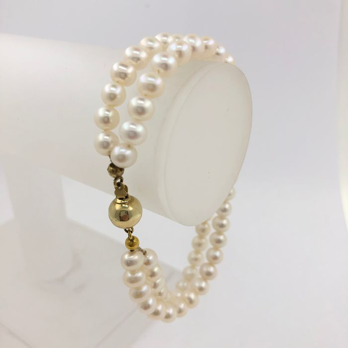 14 kt. Sweetwater pearls, Yellow gold - Bracelet