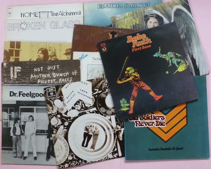 Set of 12 collectors items by rare bands of the early 70's - Home, If, MAN, Heads, Hands & Feet, Quiver, Back Door, Babe Ruth etc - LP's - 1968/1990