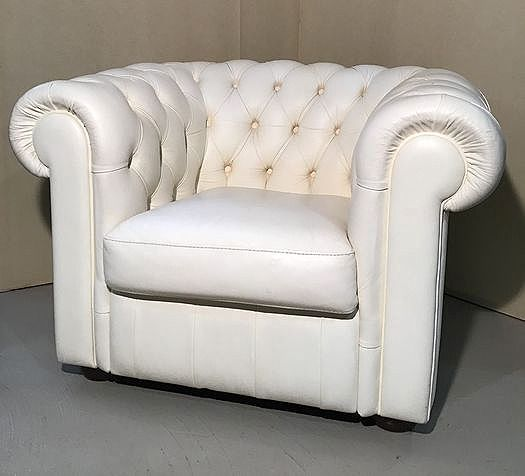 """Armchair, A buttoned white leather armchair """"Chesterfield"""""""