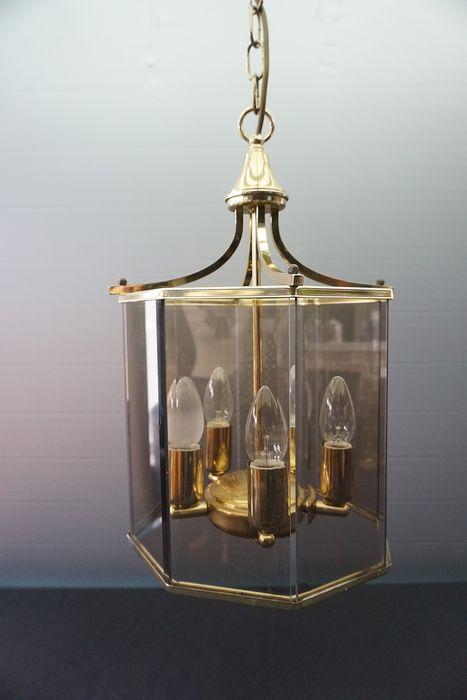 Ceiling lamp, smoke glass with 5 light points - Regency - Glas, Messing