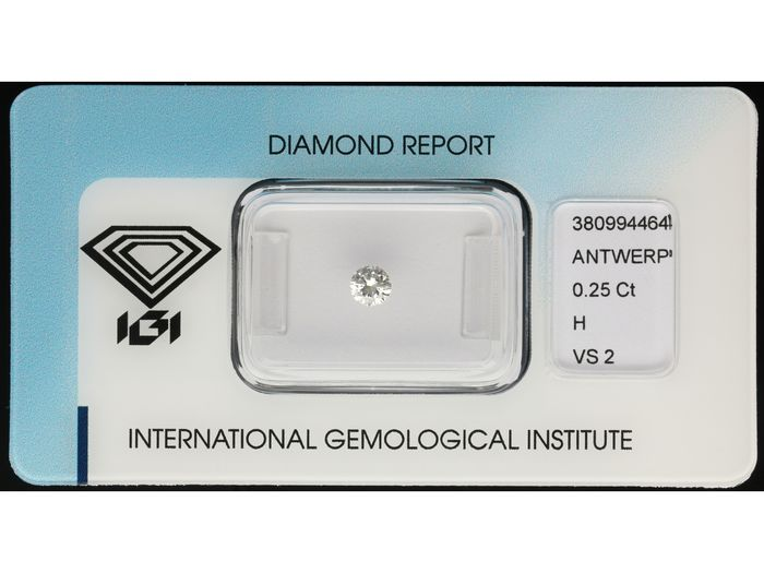 1 pcs Diamant - 0.25 ct - Brillant - H - VS2 ***No Reserve Price***