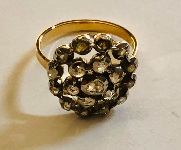 18 kt. Silver, Yellow gold - Ring Diamond - Diamonds