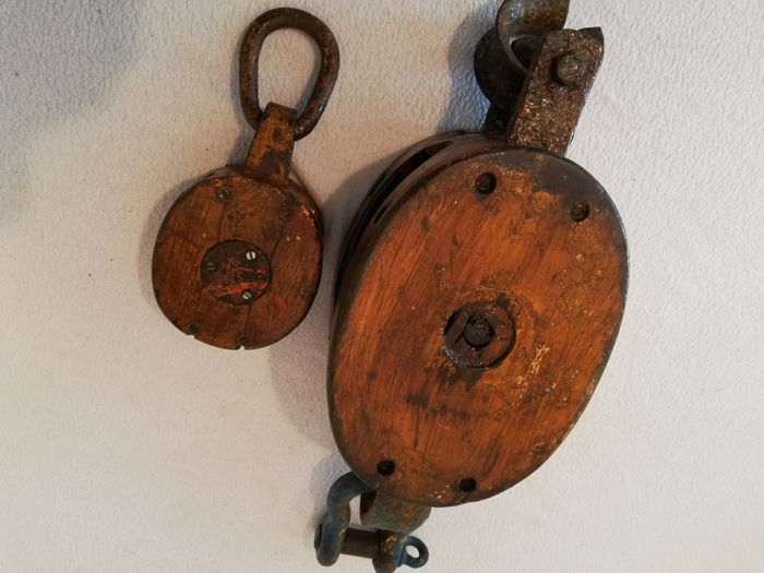 Antique maritime ships Pulley Blocks  (2) - Ash wood iron  - Early 20th century