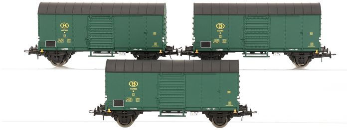 B-Models H0 - 45.711 - Freight wagon set - Set of three Glms closed freight wagons - NMBS