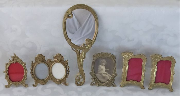 Lot of five photo frames and hand mirror - Bronze - Brass - Mirror glass - Glass