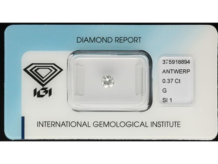 1 pcs Diamant - 0.37 ct - Briljant - G - SI1 ***No Reserve Price***