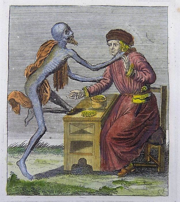 Jacques-Antony Chovin (1720-1776); After Merian - Hand coloured copper engraving - Memento Mori - Dance of Death - The Councillor - c1760