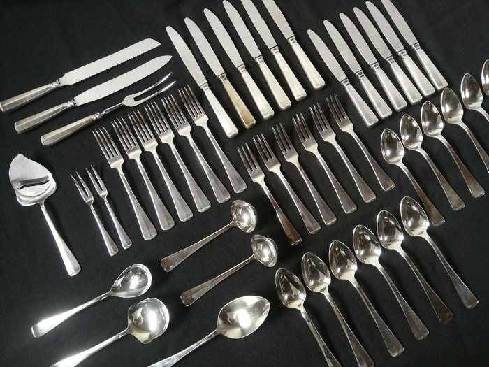 """6 - person classic cutlery """"Haags lofje"""" - SOLA - 100 - Silvered version with extensive - Silverplate"""
