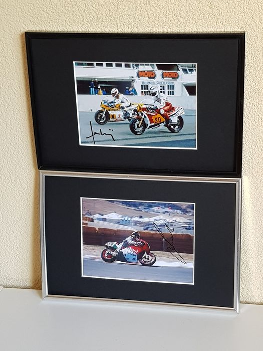 500 CC - MotoGP - Marco Luccinelli and Franco Uncini World Champions 1981 and 1982 - 2 hand signed framed photo's