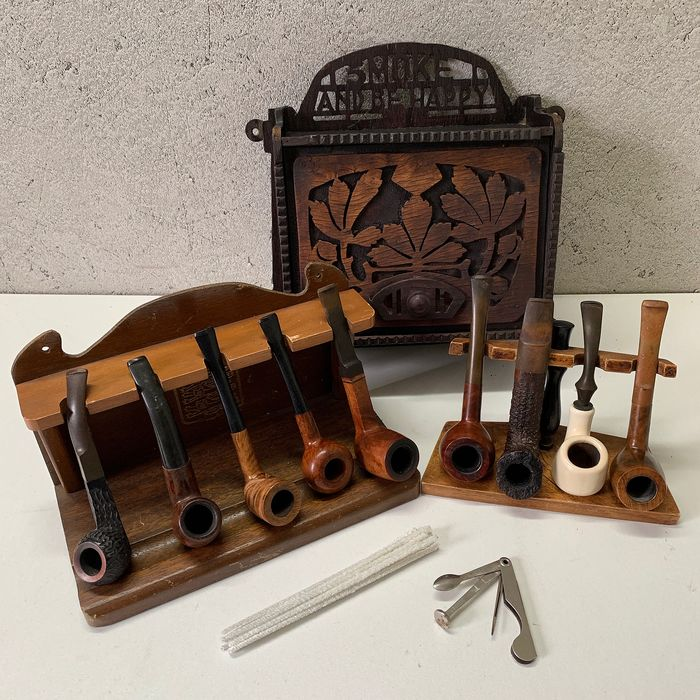 Collection of Smoking Items (Tobacco Pipes, Cupboard, Racks etc.)