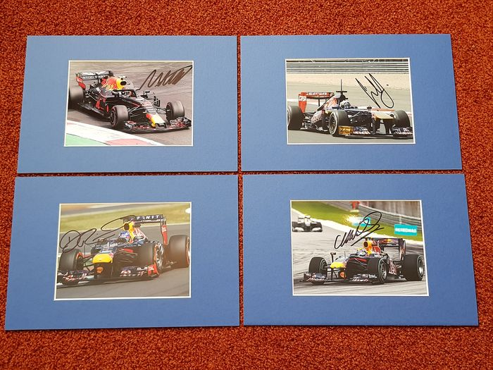 Red Bull Racing  - Formula 1  - Max Verstappen, Mark Webber, Daniel Ricciardo, Carlos Sainz - 4 hand signed photo's Red Bull Academy F1 drivers in pro. passepartout