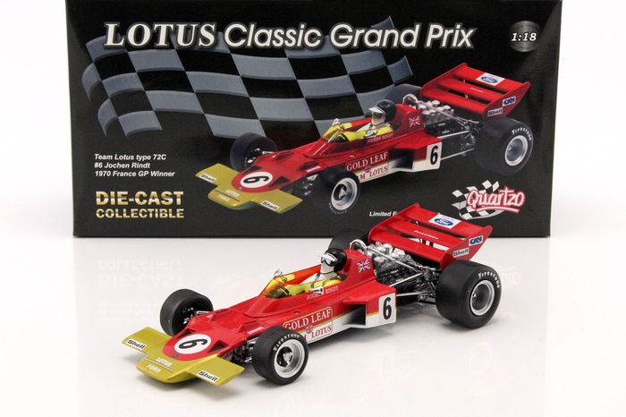 Quartzo - 1:18 - Team Lotus type 72C #6 France GP Winner 1970 - Limited Edition or 3,000 pcs. (Individually Numbered)