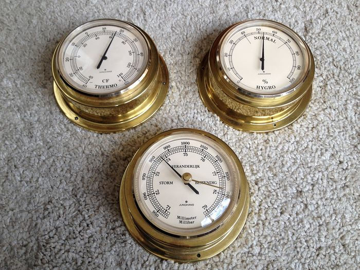 Junghans - Nautische boot-set - Barometer - Thermometer - Hygrometer - Messing