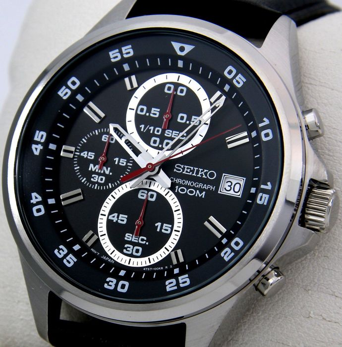 """Seiko - Chronograph """"Sport Dial"""" 100M Leather - - """"NO RESERVE PRICE"""" - - Homme - 2018"""
