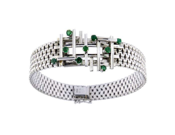 Made in Italy - 18 kt. White gold - Bracelet - 0.45 ct Emerald