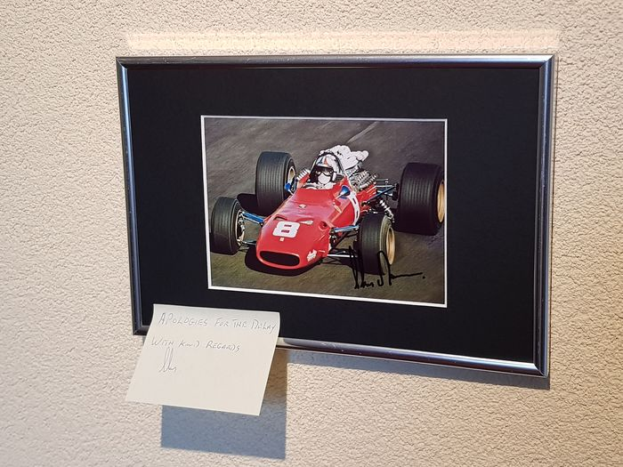 Ferrari - Formula 1 - Chris Amon - hand signed framed photo + personal note and return envelope with Amon's handwriting