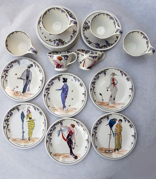 """Villeroy & Boch - Dessert service decorated with """"Bohemian models"""" in Art Nouveau and Art Deco Fashion (18)"""
