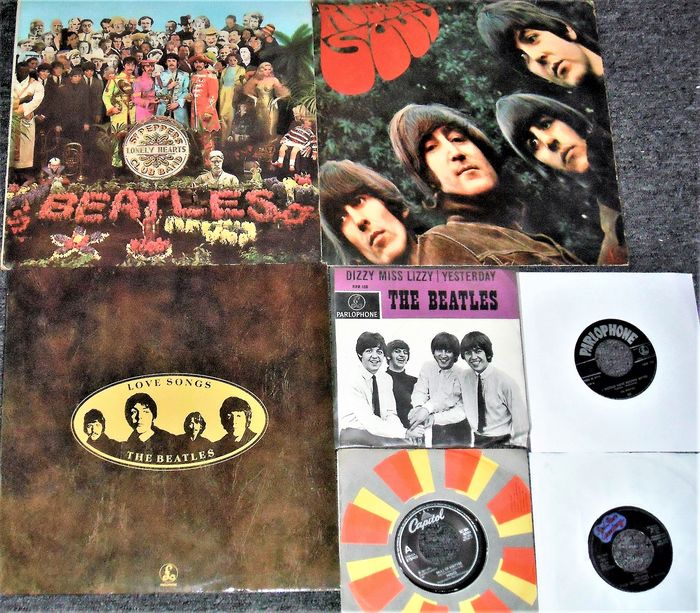Beatles & Related, 3 lp's and 4 singles from The Beatles - Multiple titles - 2xLP Album (double album), 45 rpm Single, LP's - 1964
