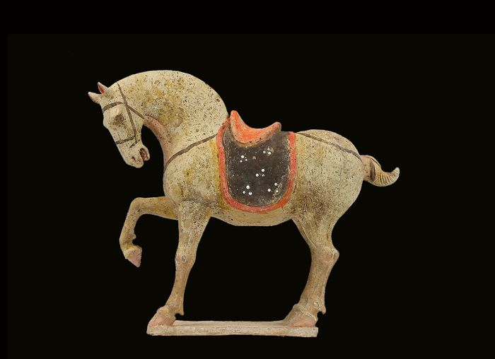 Mingqi - Terracotta -  Pottery Figure of a Prancing Horse, Tl test  - China - Tang Dynasty (618-907)