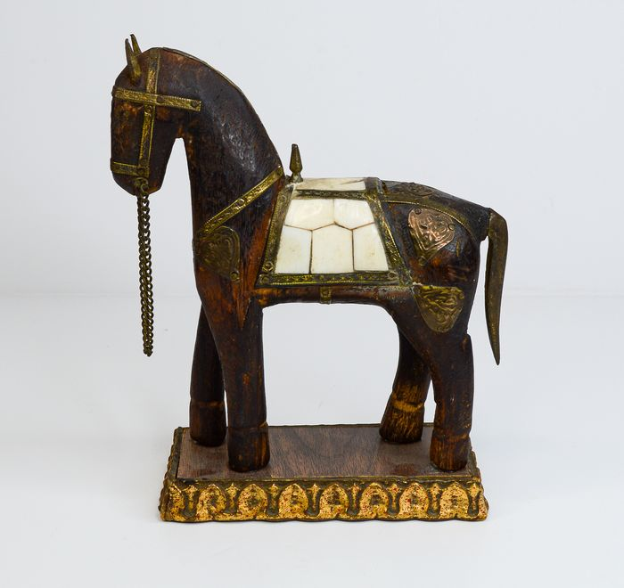 Horse model - Brass, Mother of pearl, Wood