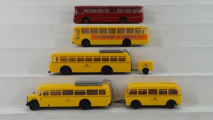 Brekina H0 - 0317K/serie 9/serie 7 - Attachments, Scenery - 3 sets of DBP mail wagons: Series 9 Bussing, Series 7 MAN and MB - DBP (Deutsche Bundespost)