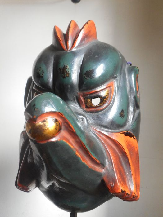 Gigaku mask - Lacquer and linen (dry lacquer) - Garuda 迦楼羅 - Karura - Japan - second half of the 20th century
