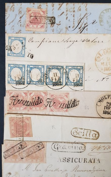 """Naples / Neapolitan Provinces 1859 - 5 letters and one fragment stamped with 2 grana, various cancellations including a """"flourish"""" - Sassone NN. 20; 5"""