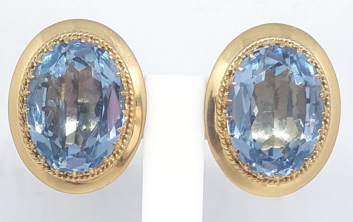 18 quilates Oro amarillo - Pendientes - 30.00 ct Topacio