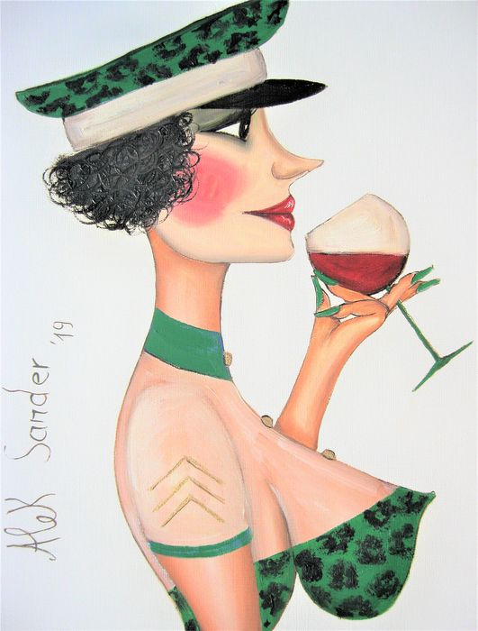 Alek Sander - Madame Cohiba with leogreen cap and red wine.