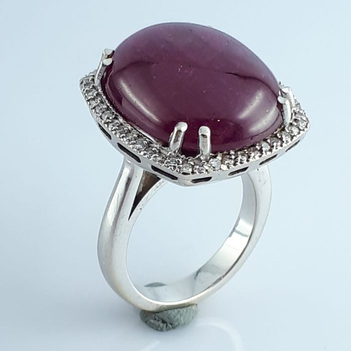 18 kt. White gold - Ring - 25.00 ct Ruby - Diamond