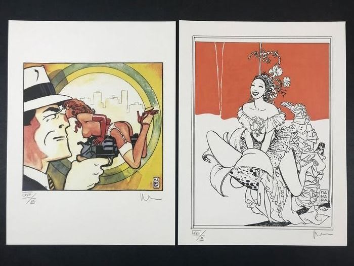 "Milo Manara - 2x lito firmate ""Dick Tracy"" & ""Josephine Baker"" - First edition"