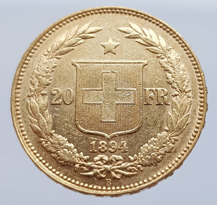 Switzerland - 20 Francs 1894 Helvetia - Gold