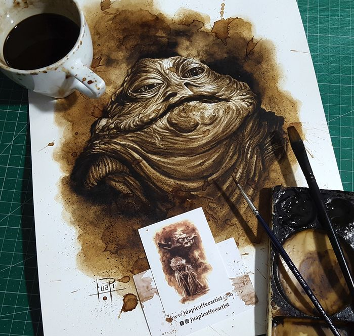 Coffee Painting - JABBA THE HUTT - Original (2018)