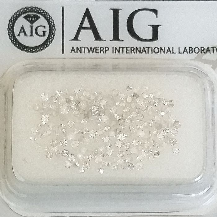 183 pcs Diamantes - 1.03 ct - Redondo - D (incolor), E, F, G, H - I1, SI1, SI2, VS1, VS2, ***No Reserve Price***