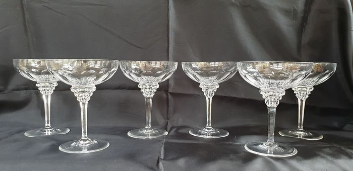 Jan Eisenloeffel  - Kristalunie Maastricht - Six 13.4 cm high champagne bowls (marked) - Crystal