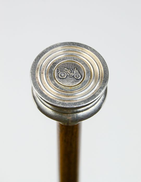 Walking stick, with Auto - Silverplate, Wood