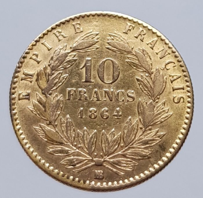 France - 10 Francs 1864-BB Napoleon III - Gold