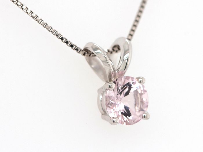 14 kt. White gold - Necklace with pendant - 0.47 ct Morganite - Pink - No Reserve Price