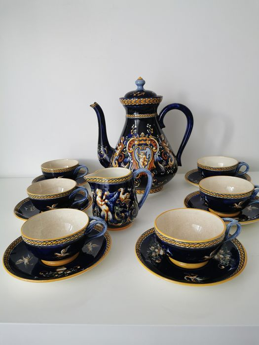 Gien - Antique tea service in earthenware (15) - Earthenware