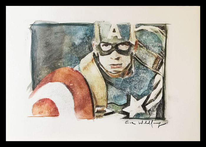 Emma Wildfang - CAPTAIN AMERICA - Loose page - Aquarelle- Watercolors/Pastels on 250g acid-free paper - (2019)