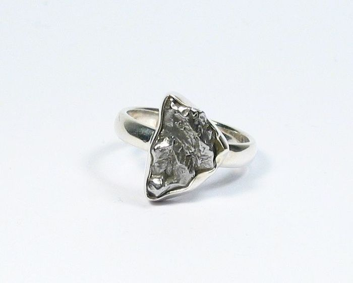 Campo del Cielo Iron Meteorite Ring / new - 15.9×11.8×5 mm - 5.92 g - (1)