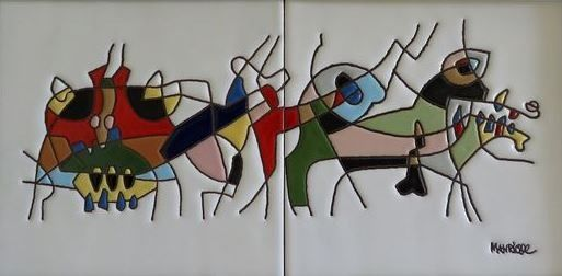 Cesar Manrique (after)   - Spanish Bulls (abstract)