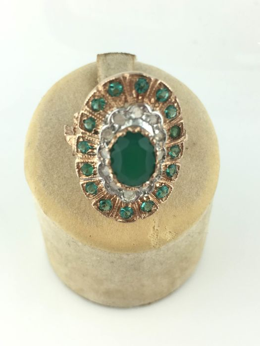 14 kt. Pink gold - Ring Emerald