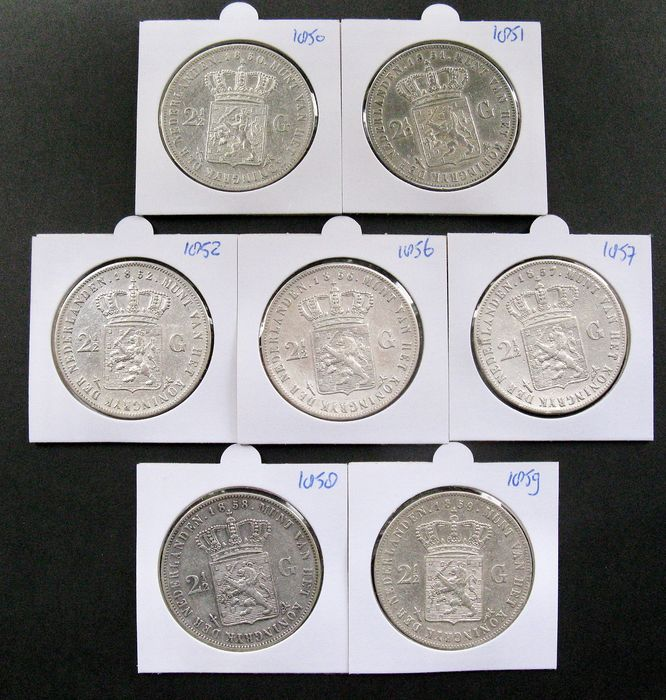 Hollandia - 2½ Gulden 1850, 1851, 1852, 1856, 1857, 1858 en 1859 Willem III - Ezüst