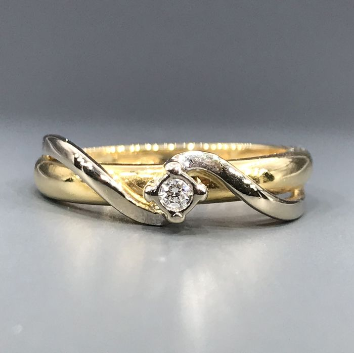 Kiara - 18 kt. White gold, Yellow gold - Ring - 0.05 ct Diamond