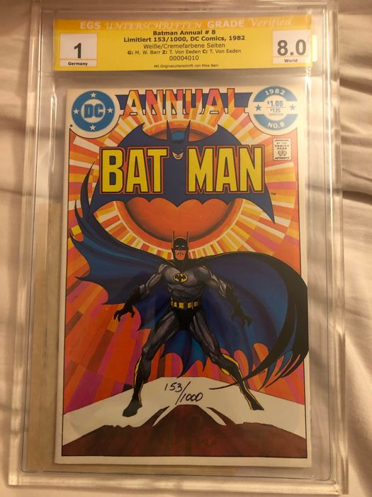 Batman Annual 8 - Batman Annual 8 signiert Mike Barr EGS 8.0 - Stapled - First edition - (1982)
