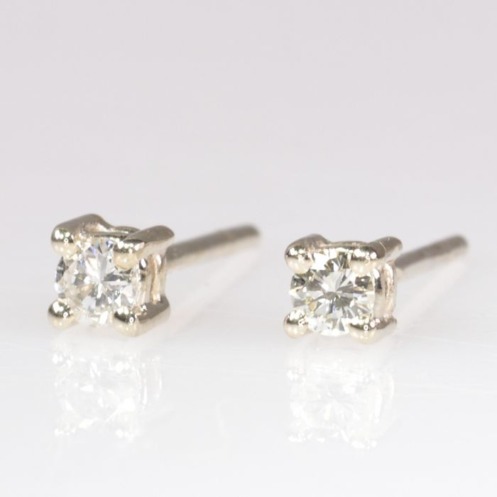 18 kt. White gold - Earrings, Vintage Seventies, Ear studs - 0.16 ct Diamond - NO RESERVE PRICE